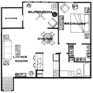 858 sq. ft. A6 floor plan