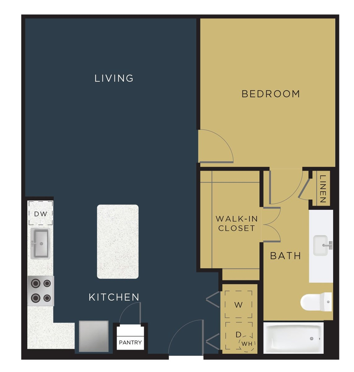 766 sq. ft. to 792 sq. ft. A4 floor plan