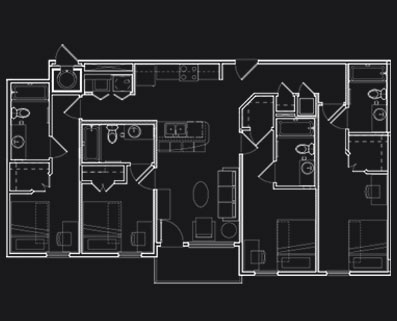 1,351 sq. ft. D4 floor plan