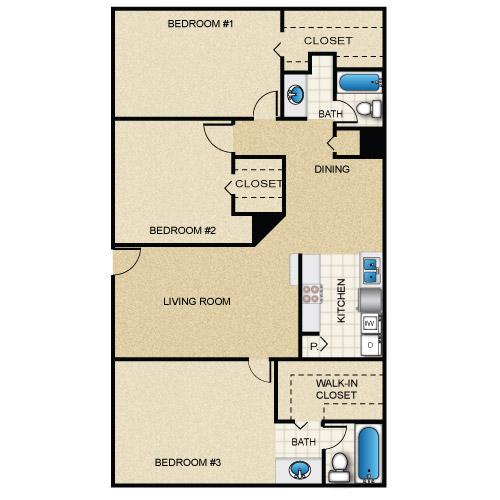 1,260 sq. ft. floor plan
