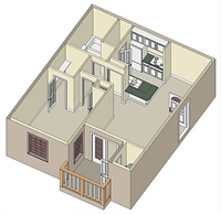 584 sq. ft. A2 floor plan