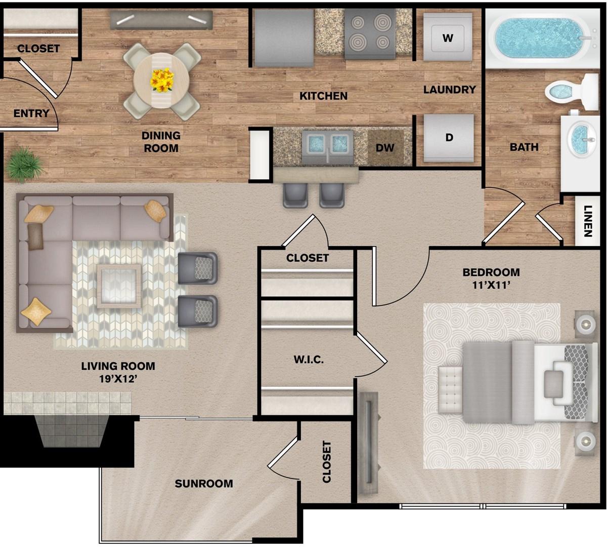 696 sq. ft. A-1S floor plan