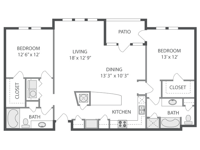 1,256 sq. ft. Mosaic floor plan