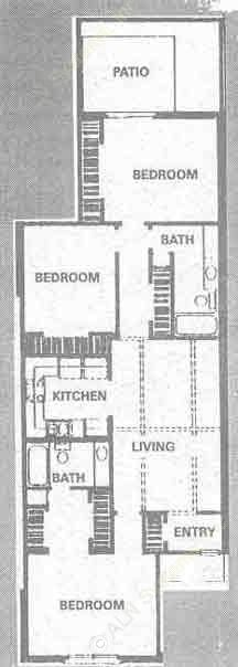 1,212 sq. ft. B floor plan