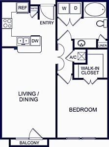 746 sq. ft. Barcelona 2 floor plan