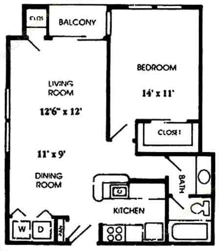 654 sq. ft. A4 floor plan