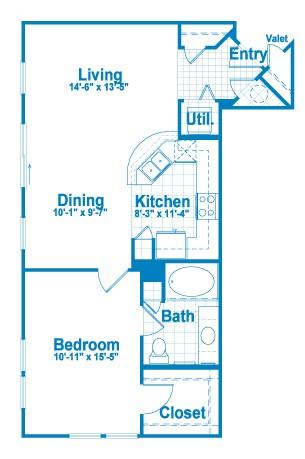 794 sq. ft. A2 floor plan