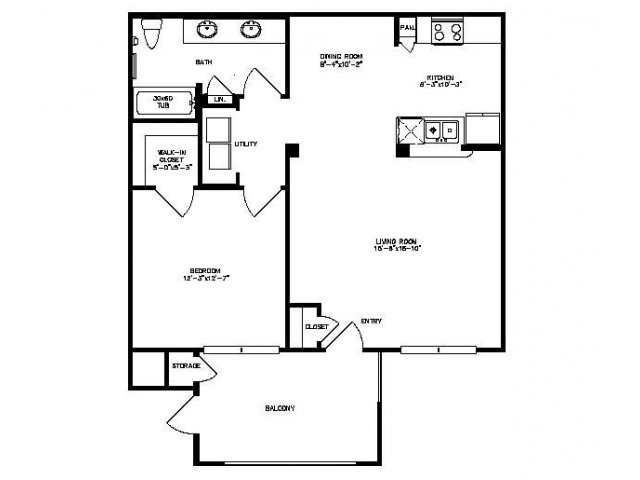 810 sq. ft. Hawthorne floor plan
