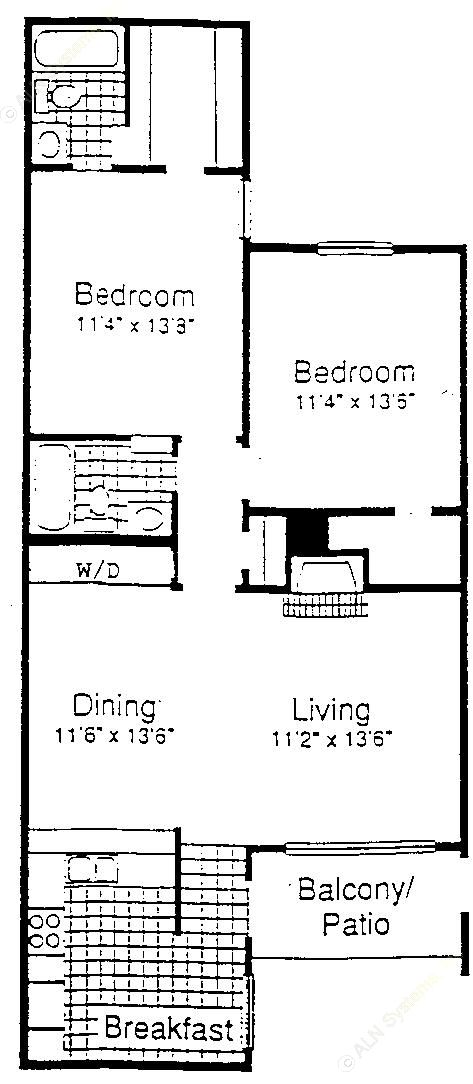 1,053 sq. ft. B3-3 floor plan