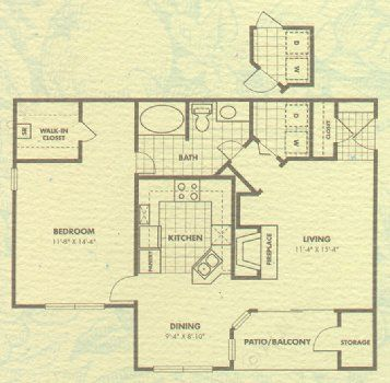 838 sq. ft. Ashford floor plan