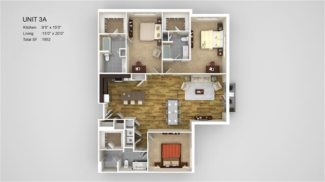 1,952 sq. ft. 3A-HC floor plan