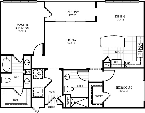1,353 sq. ft. B7 floor plan