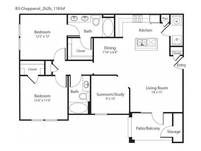 1,183 sq. ft. Chapparral floor plan