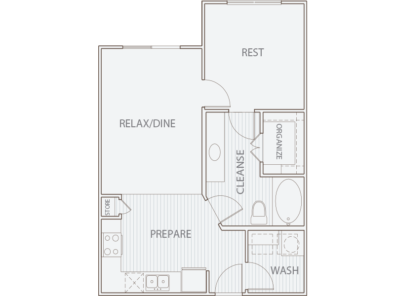 652 sq. ft. A1 floor plan