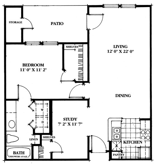 780 sq. ft. Oak floor plan