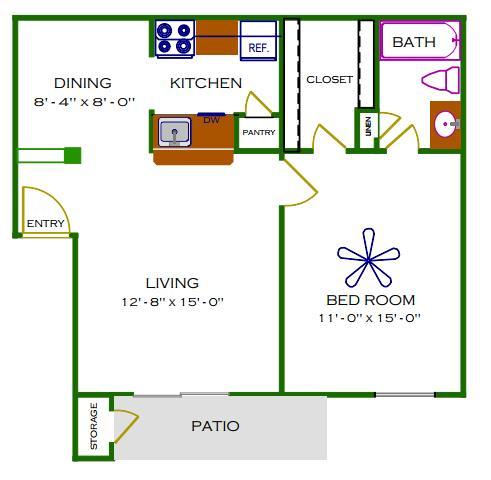 653 sq. ft. A/Laurel floor plan