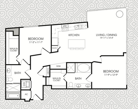 1,301 sq. ft. B6 floor plan