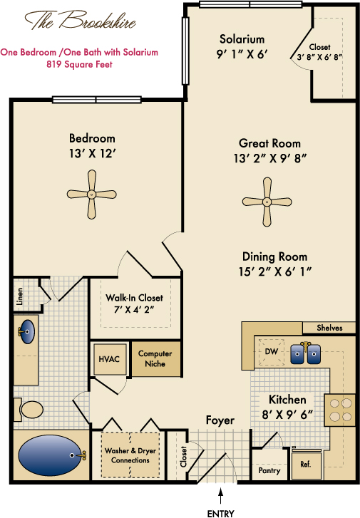 819 sq. ft. Brookshire Solarium floor plan