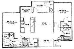 1,097 sq. ft. B3-Ph I floor plan