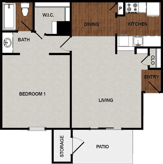 693 sq. ft. B floor plan