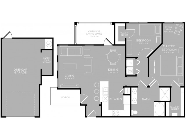 1,077 sq. ft. Bonnell B1 floor plan