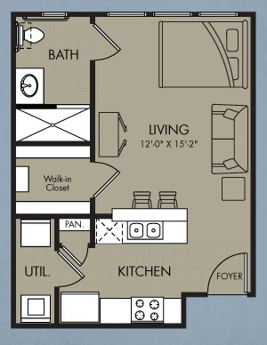 480 sq. ft. Zenith floor plan