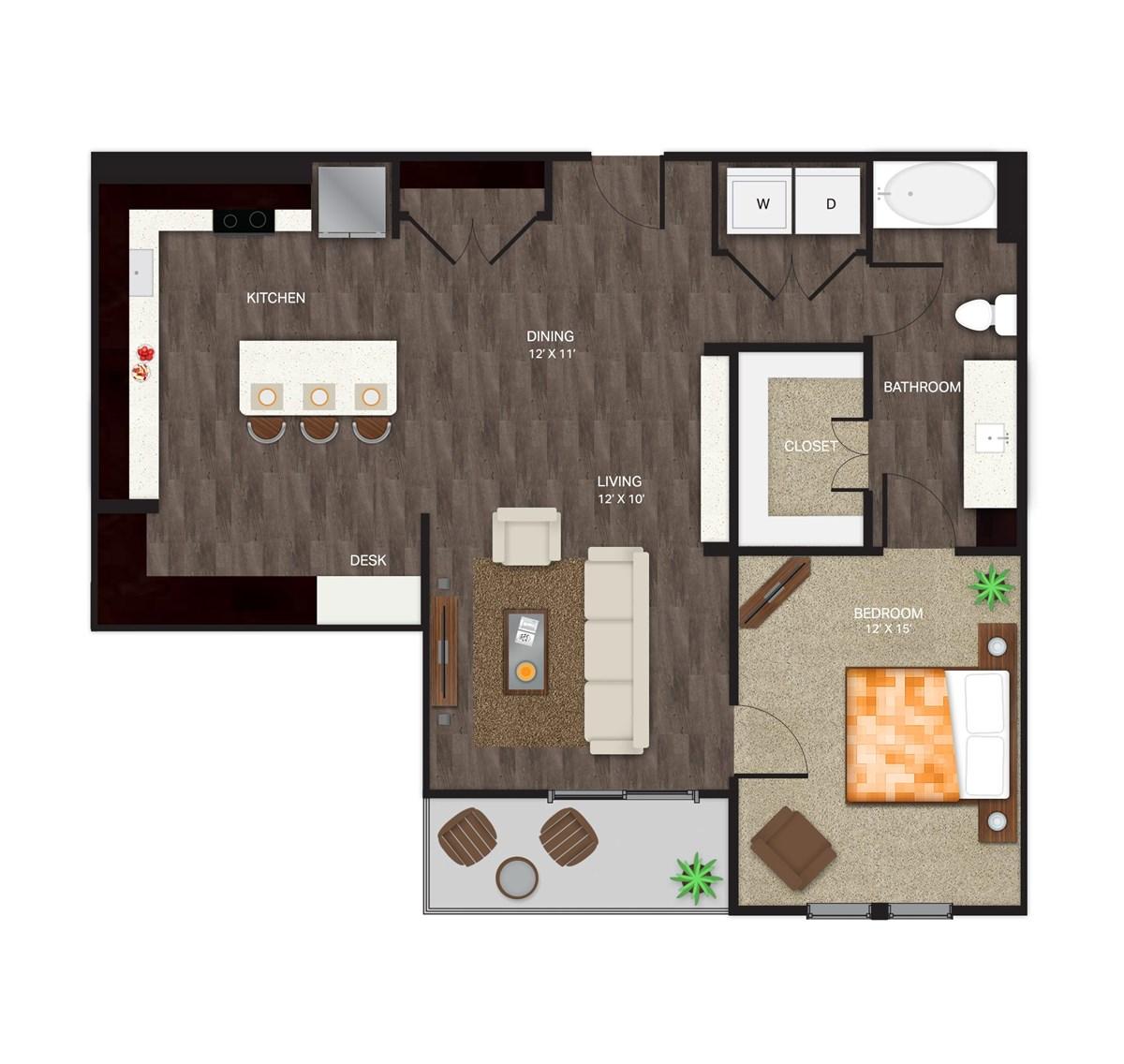 1,009 sq. ft. A-5 floor plan
