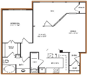807 sq. ft. Lilly floor plan