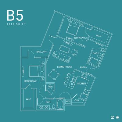 1,215 sq. ft. B5 floor plan