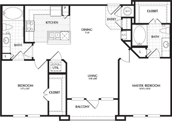 1,050 sq. ft. BELMONT floor plan