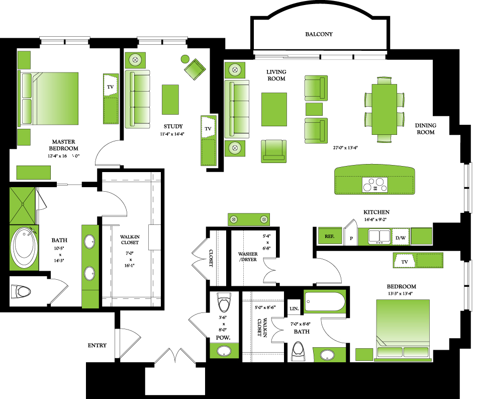 2,000 sq. ft. Penthouse I floor plan