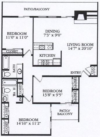 1,214 sq. ft. C2 floor plan