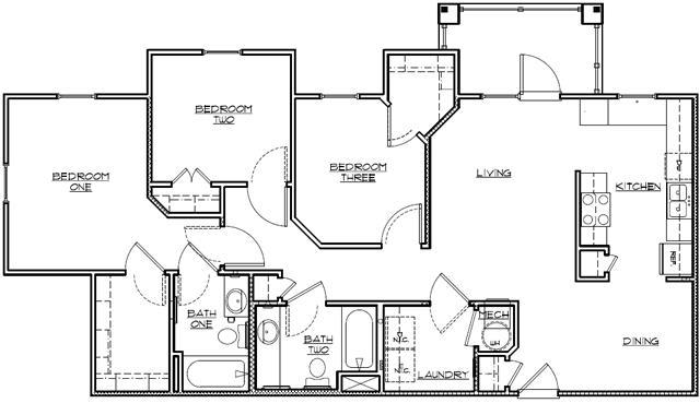 1,178 sq. ft. Mkt floor plan