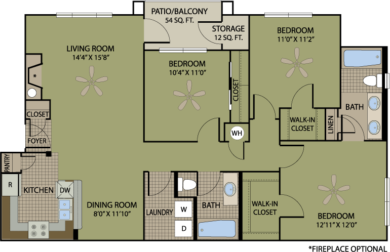 1,219 sq. ft. Chamagne floor plan