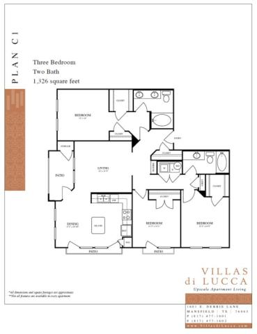 1,326 sq. ft. C1 floor plan