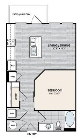 620 sq. ft. E1 floor plan