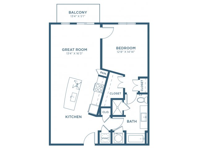 845 sq. ft. A8 floor plan