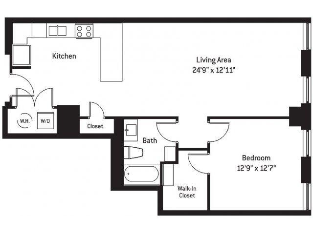 916 sq. ft. AH floor plan