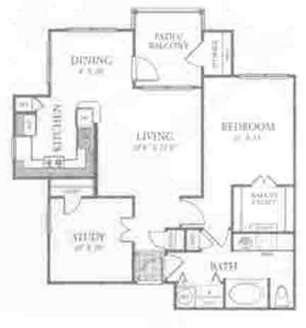 939 sq. ft. A6 floor plan