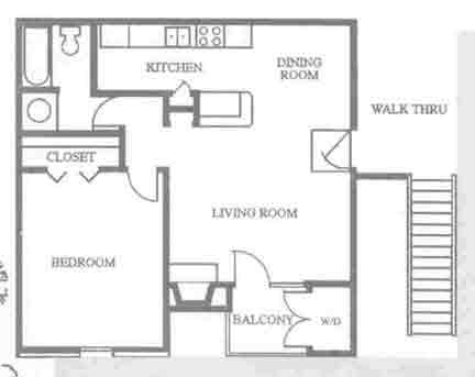 622 sq. ft. A1 floor plan