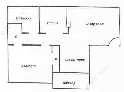 680 sq. ft. Park floor plan