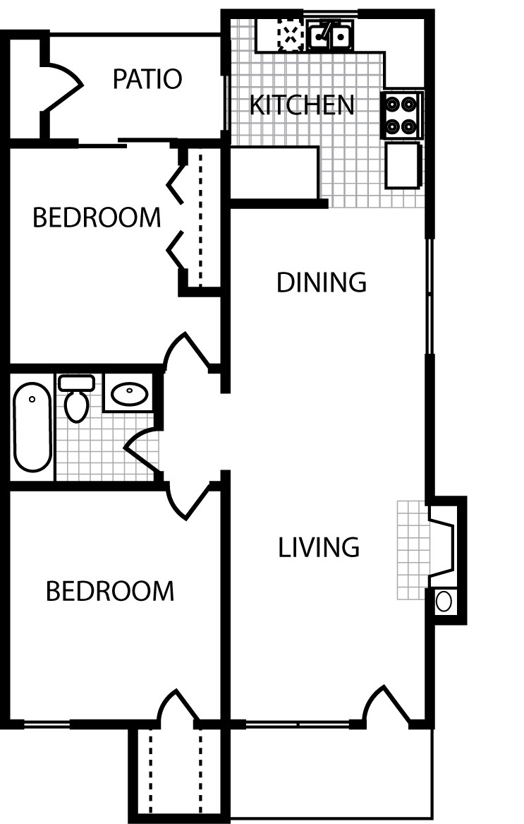 806 sq. ft. B1 floor plan
