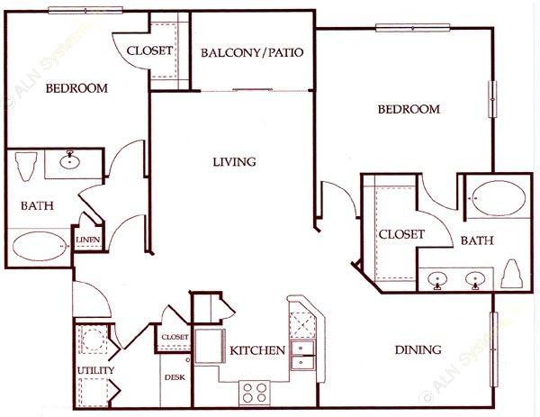 1,225 sq. ft. B1 floor plan