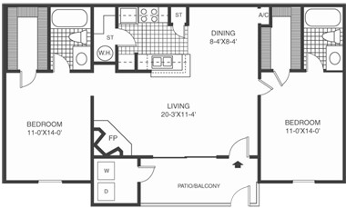943 sq. ft. B2 floor plan