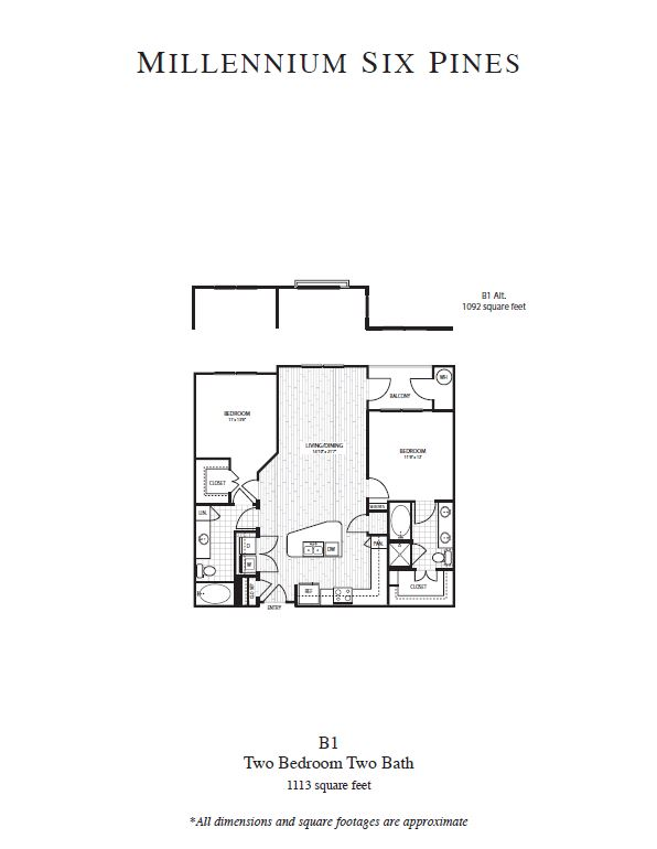 1,092 sq. ft. B1 Alt floor plan