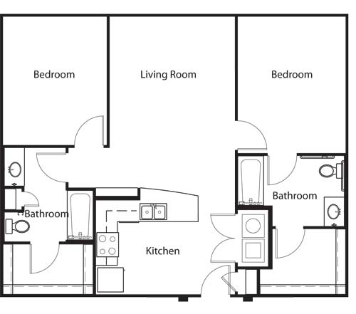 1,051 sq. ft. B1 HC floor plan