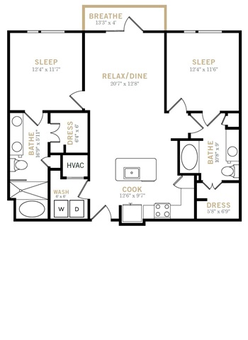 1,113 sq. ft. B4 floor plan