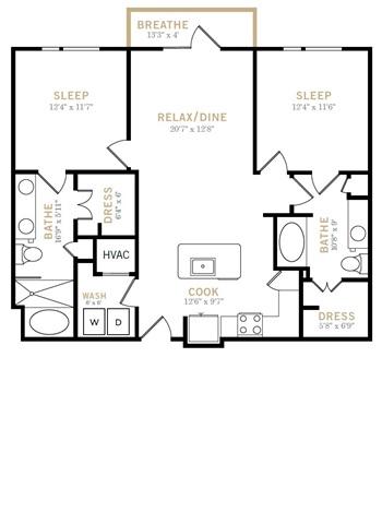 1,113 sq. ft. B4 floor plan