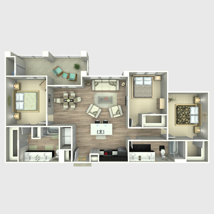1,367 sq. ft. C1 floor plan
