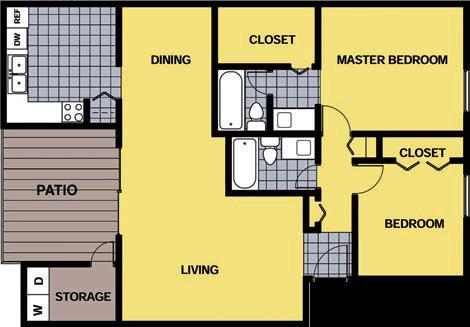 1,170 sq. ft. B1 floor plan